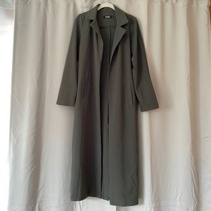 Green long line duster jacket